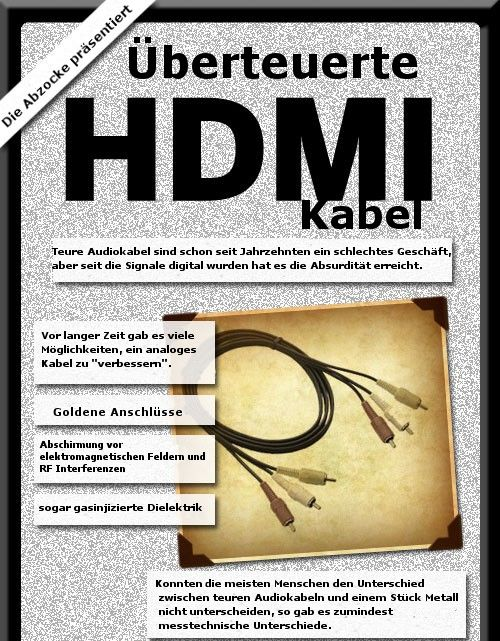 HDMI1 HDMI Kabel: So wird abgezockt!